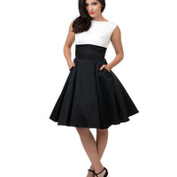 1950s Style Black & White Color Block Sleeveless O'Hara Swing Dress