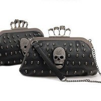 Party Skull Knuckle Duster Clutch Purse - Black Pu Leather