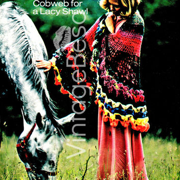 EASY Lacy Cobweb Shawl an airy wheel of color & great to use up leftover yarn 70s Vintage CROCHET Pattern Instant Download Vintage Beso PDF
