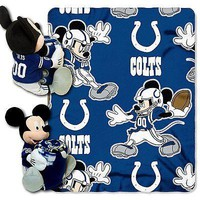 Indianapolis Colts NFL Mickey Mouse Throw and Hugger Pillow Set