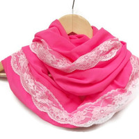 Chiffon with Lace Lightweight Soft Fushia Pink Neon Infinity Scarf,Circle Scarf , Women Accessories