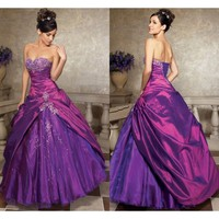 BacklessBeaded Lace Up Back  Long Purple Quinceanera Dress