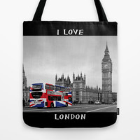 Red London Bus and Union Jack Flag Tote Bag by Alice Gosling