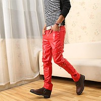 Hip Hop Mens pu Leather Joggers pants Motorcycle Sweatpants Street Dance Rock Slacks Harem Trousers pantalon homme 102305