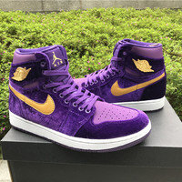 [ FREE SHIPPING ] AIR JORDAN 1 (ROYAL PURPLE VELVET) Basketball Shoes