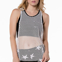 Fishnet White And Black Top