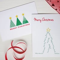 Merry christmas cards Holiday greetings Christmas cards set Christmas trees set of 2 or 4 cards