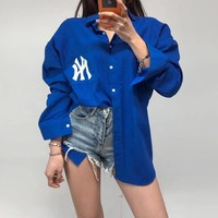 """New York Yankees""Women Unique Personality Casual Fashion Letter Logo Print Stripe Cardigan Long Sleeve Lapel Shirt Tops"