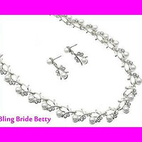 White Pearl Vine Bridal Necklace Earring Set Silver Tone W Bling