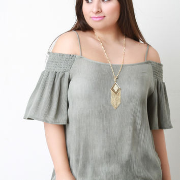 Crinkled Woven Bardot Necklace Top