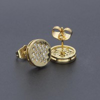 New Men AAA CZ Rhinestone Crystal Stud Earrings Copper Material Gold Color Square punk Earrings