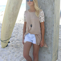 Santa Monica Lace Sleeves Mocha T-Shirt