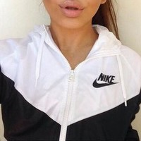 Tagre Nike Fashion Hooded Zipper Cardigan Sweatshirt Jacket Coat Windbreaker Sportswear