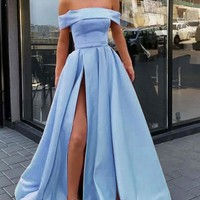 Evening Dresses Off The Shoulder Slit Satin Prom Dress