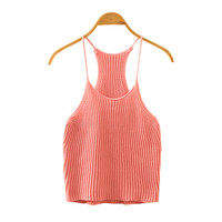 Summer Halter Knitted Sleeveless Crop Top = 4765267588