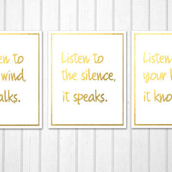 Native American Proverb listen to the wind, silence and heart faux gold quotes set soul speaking PRINTABLE poster INSTANT DOWNLOAD