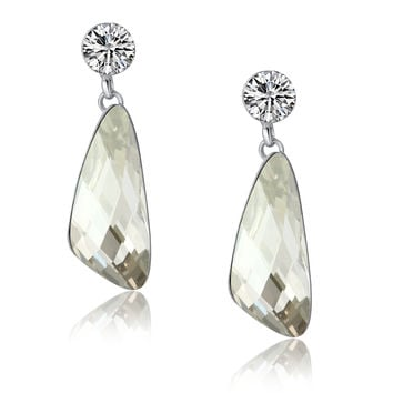 Wing Drop Swarovski Elements Crystal and Cubic Zirconia Dangle Earrings - Clear