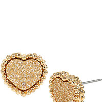 ALL THAT GLITTERS CRYSTAL AND GOLD HEART STUDS GOLD