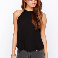 Halter Neck Button Back Crop Top