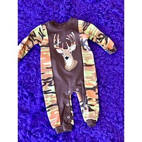 Fun Camo & Brown Deer Infant Boys Romper