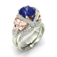 Blue Sapphire and Rose Gold Engagement Ring 14 k