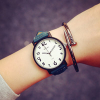 Casual Campus Style Leather Strap Watch + Gift Box-464