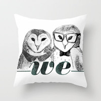 owl couple Throw Pillow by Judith Balaguero