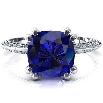 Nancy Cushion Blue Sapphire 4 Double Prong 1/2 Eternity Diamond Knife Shank Accent Engagement Ring