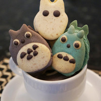 Totoro and Friends French Macarons - with Soot Sprites (1 dozen)