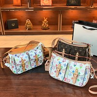 LV color letter printed women's shoulder crossbody armpit bag