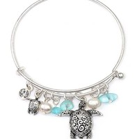Alex and Ani Style Textured Turtle and Pearl Charm Silver Wire Bangle Bracelet