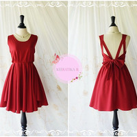 A Party - V Shape Backless Dress Blood Red Dresses Blood Backless Prom Dresses Cocktail Party Dress Wedding Red Bridesmaid Dresses XS-XL