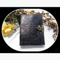 Black Pentagram Latched Leather Journal
