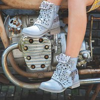 LALA IKAI Studded Ankle Boots for Women Cowgirl Combat Boots Leather Low Heel Biker Shoes