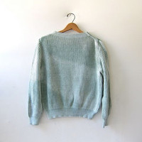 vintage loose knit sweater. washed out sweater. teal sweater