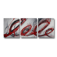 Abstract art canvas painting  grey red black Wall art paintings