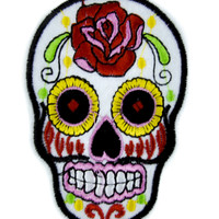 White Sugar Skull Patch Iron on Applique Day of the Dead