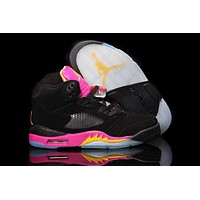 Air Jordan 5 Retro AJ5 Black Pink Women Basketball Shoes