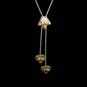 Leaf Lariat Bolo Necklace With Faux Off Cream Pearls, One Of A Kind