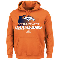 Men's Denver Broncos Majestic Orange 2014 AFC West Division Champions Hoodie