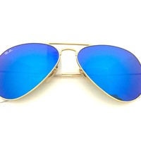 Cheap New Ray-Ban Aviator RB3025 112/17 58mm Matte Matte Gold Frame, Blue Flash Lens