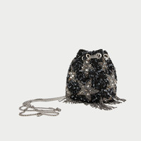BEADED STARS CROSSBODY BUCKET BAG DETAILS