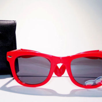 FREE SHIP usa! Red folding sunglasses with leather case / ray-ban wayfarer inspired / summer glasses / folding sunglasses / hipster glasses