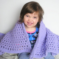 Baby Girl Crochet Afghan Blanket, Baby Blanket in Lavender, ready to ship. $45 USD