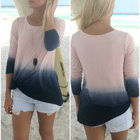 Sandy Point Blush & Navy Long Sleeve Dip Dye Top