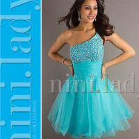 Stock Blue Short Ball Gowns Cocktail Prom Homecoming Dresses 6 8 10 12 14 16