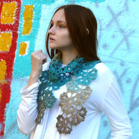 Turquoise scarf crochet Lariat scarf Scarf wrap Crochet flowers scarf Neck warmer Gradient wool wrap Gift ideas for women Eco wool Fashion