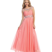 Coral Sheer Open Back Empire Waist Gown 2015 Prom Dresses