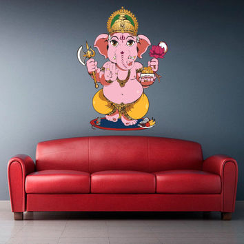 Full Color Wall Decal Mural Sticker Art Paintings Indian Ganesh Om Lotos Elephant Lord Hindu Success Buddha India Namaste Paintings (col352)