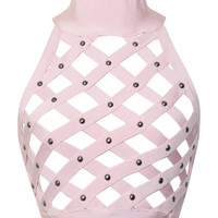Karlisle Pink Lattice Cut Out Crop Top